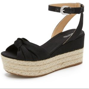 MK espadrille jute flatform wedge sandal black